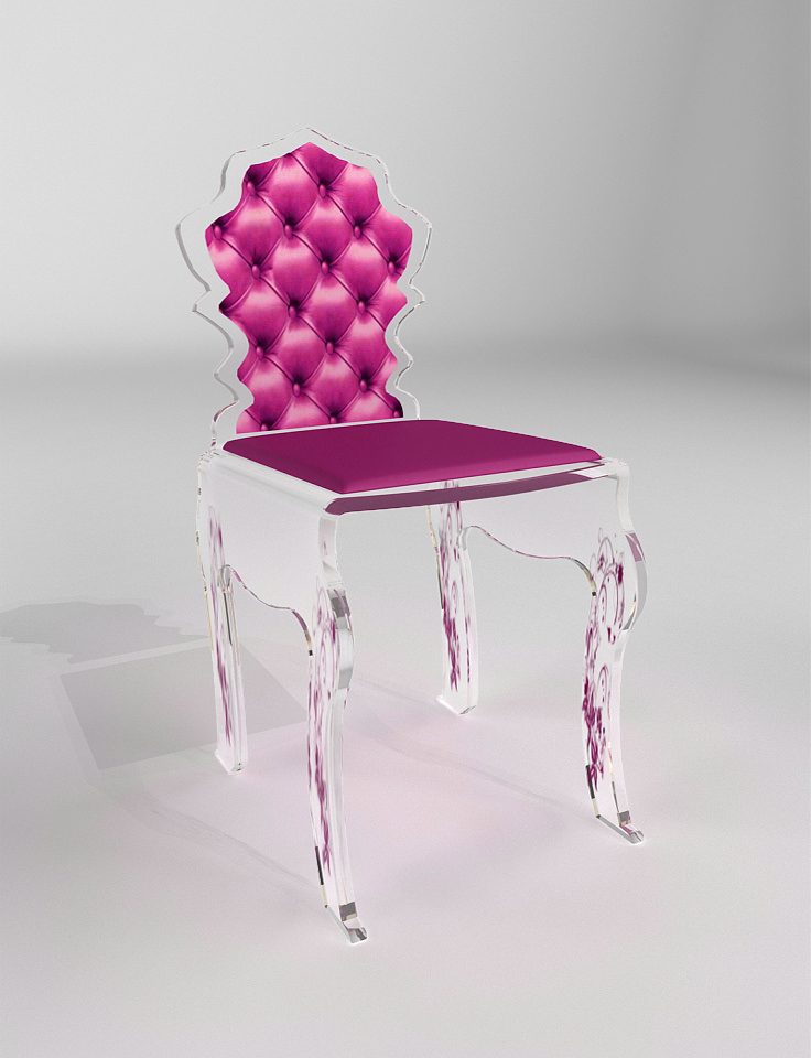 Chaise baroque rose fr d ric julien design for Chambre baroque noir et rose