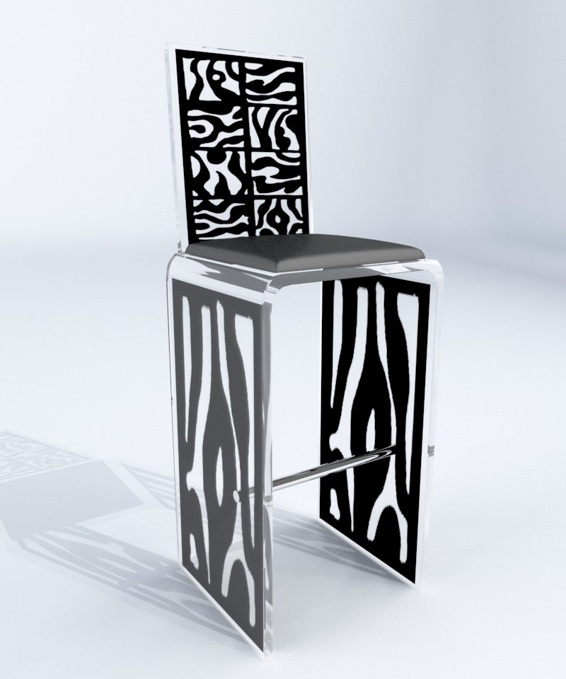 tabouret haut plexi banou fr d ric julien design. Black Bedroom Furniture Sets. Home Design Ideas